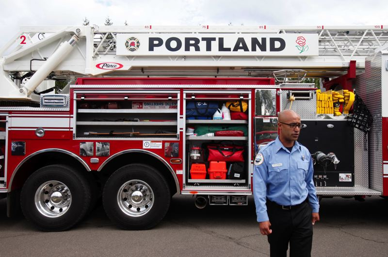 by: TRIBUNE PHOTO: JONATHAN HOUSE - A new quint is demonstrated to the press by Portland Fire & Rescue officials.
