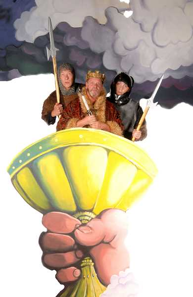 by: SUBMITTED PHOTO:TRIUMPH PHOTOGRAPHY - From left are Burl Ross, Jay Pevney and Ben Farmer in Monty Pythons Spamalot at Lakewood Theatre Company, opening Sept. 6 and running through Oct. 13.