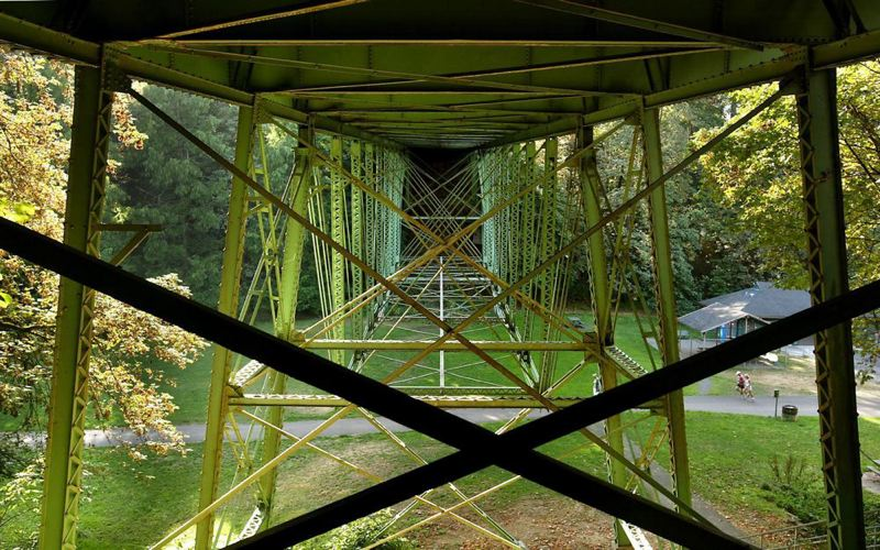 (Image is Clickable Link) by: TRIBUNE FILE PHOTO: L.E. BASKOW - The trusses are the historic part of the Thurman Street Bridge over Macleay Park that will get a $3.78 million restoration/rehabilitation project next spring. The work will close the bridge for several months and require a detour for Northwest Portland residents.
