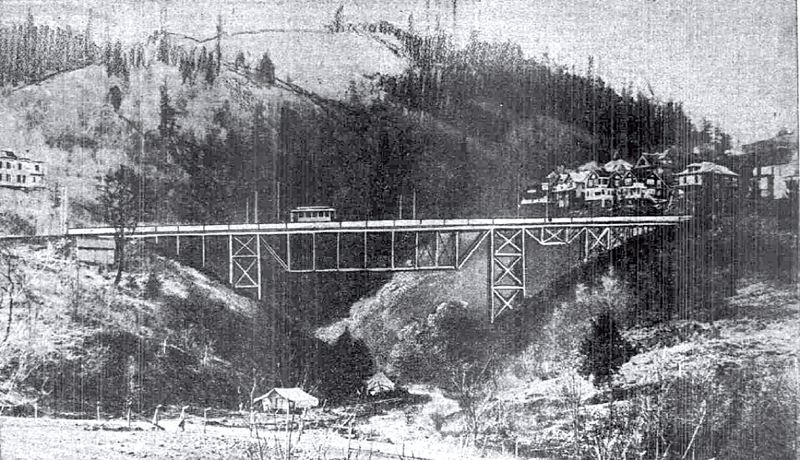 (Image is Clickable Link) by: COURTESY OF CITY OF PORTLAND - The original Balch Gulch Bridge was built to extend eletric trolley service to the Willamette Heights neighborhood. The current bridge was constructed in 1905 for about $33,000 to replace a wooden truss structure.