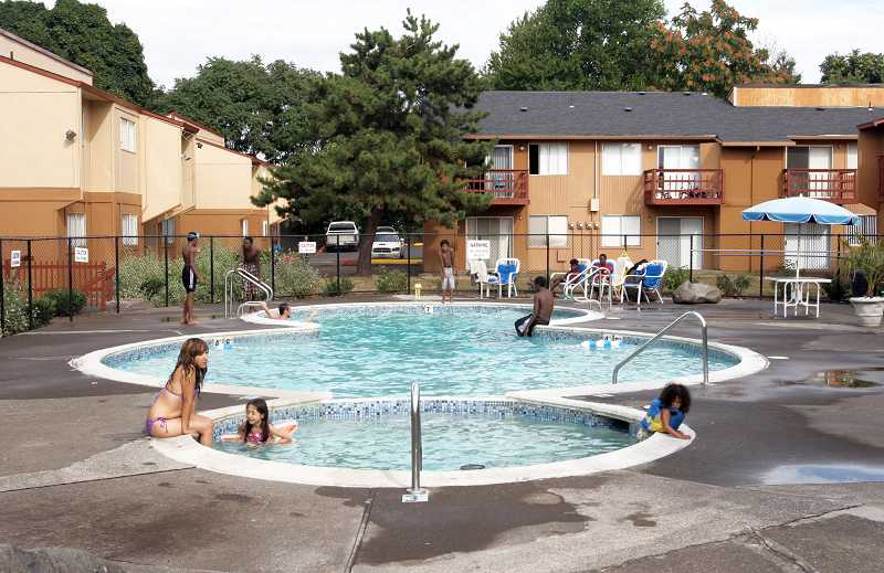 by: OUTLOOK PHOTO: JIM CLARK - The pool at Barberry Village apartment complex has been refurbished and is a popular spot during the summer months.