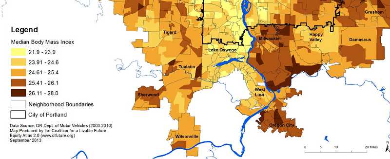 by: MAP COURTESY OF THE COALITION FOR LIVABLE FUTURE  - A map tracking residents average Body Mass Index shows that folks in close-in Portland, Lake Oswego, West Linn and areas north of Beaverton tend to have their weight more under control than those in other areas.