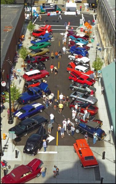 by: PHOTO BY MIKE SIMS - Shown is an overhead view of the downtown Oregon City Car Show filling Main Street last year.