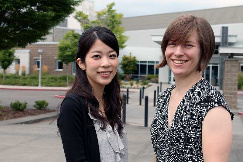 by: REVIEW PHOTO: JILLIAN DALEY - Moe Takahashi of Japan, left, and Charlotte Stewart are co-teaching Japanese classes at Lakeridge and Lake Oswego high schools. Takahashi is here through the the Japanese Language Education Assistant Program.
