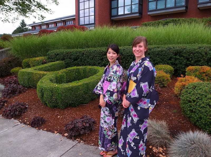 by: SUBMITTED PHOTO - Moe Takahashi and Charlotte Stewart pose, each in a yukata, which is a light, unlined kimono.