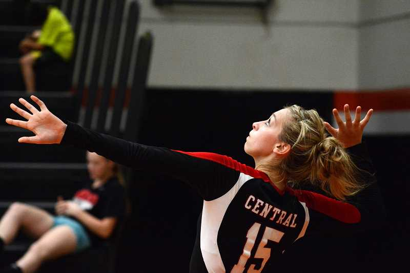 by: JOHN WILLIAM HOWARD - Central Outside hitter Catherine Cutsforth was essential in Central's rally to win the third set, but she wasn't enough to put the Panthers over the top, as they fell 3-1 to Scappoose on Thursday, Sept. 12.