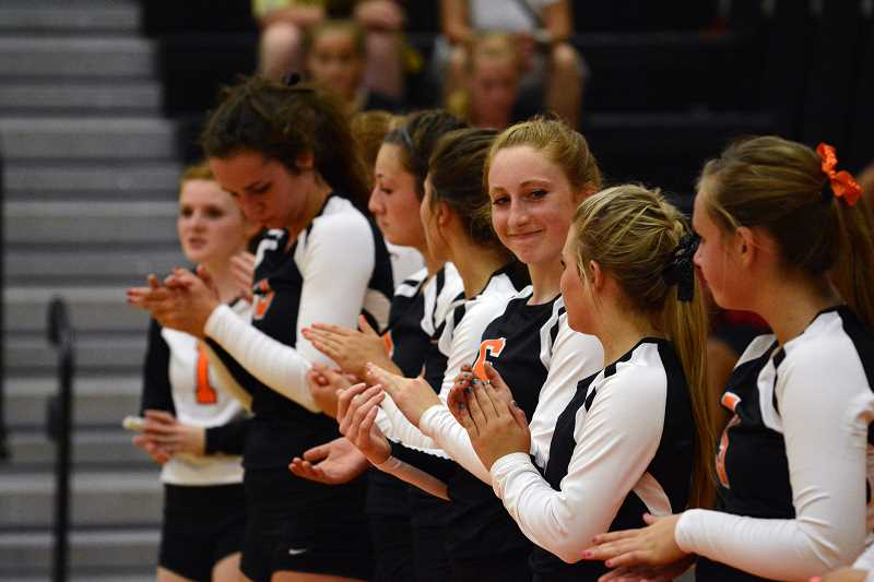 by: JOHN WILLIAM HOWARD - Scappoose players line up and wait for the national anthem to be sung before the match with Central gets underway. The Indians got off to a hot start, and finished in dramatic fashion with a 3-1 win over Central on Thursday, Sept. 12.