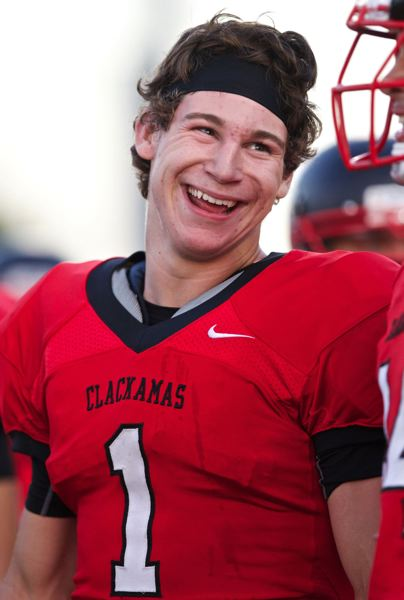 by: JAIME VALDEZ - Clackamas running back Dan Sherrell was all smiles after scoring his third touchdown in last Fridays runaway win over Aloha.