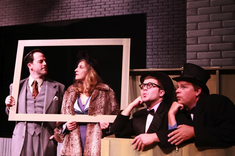 by: PHOTO BY SAM LEVI - All eyes are on Jayson Shanafelt, left, as Richard Hannay. Also pictured are Jayne Stevens, James Sharinghousen and Travis Nodurft.