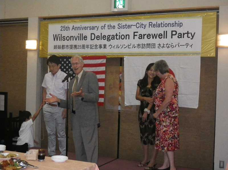by:  BEV SCHALK - Wilsonville Mayor Tim Knapp speaks at a celebration dinner held at the end of the sister city trip.