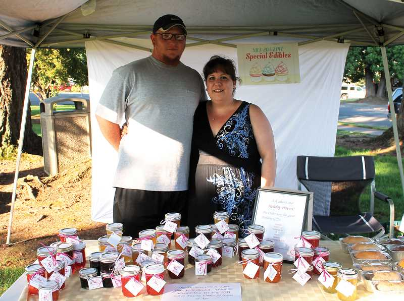 by: CORY MIMMS - Ted and Melissa Knockenhauer selling alcohol-infused jams and jellies at Second Friday. Melissa launched the company last month.