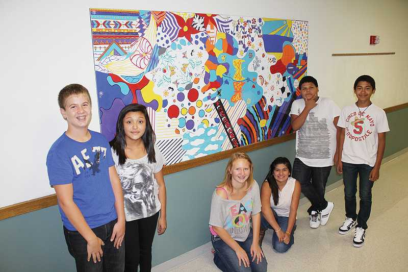 JCMS Art Club students who helped create hall murals included Jared Holliday, left, Celeste White, Ally Dominiak, Michell Galan, Raymond Sam-Smith, and Antonio Sanchez.