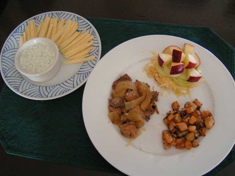 by: SUBMITTED PHOTO: ALBERTA SEIERSTAD  - Alberta Seierstad will teach a cooking class Sept. 28 on rutabagas. Included on the menu are from left, raw rutabagas with sour cream, cucumber and dill dip, Finnish three-meat ragout, Norwegian rutabaga salad and butter roasted rutabagas.
