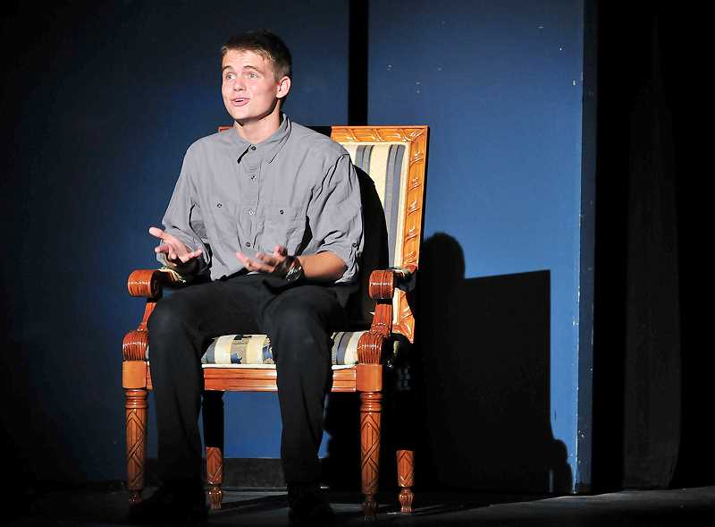 by: GARY ALLEN - Murder? - Travis Cox rehearses for Newberg High School's presentation of Pat Cook's 'Much Ado About Murder.' The interactive and comedic murder mystery opens this weekend 