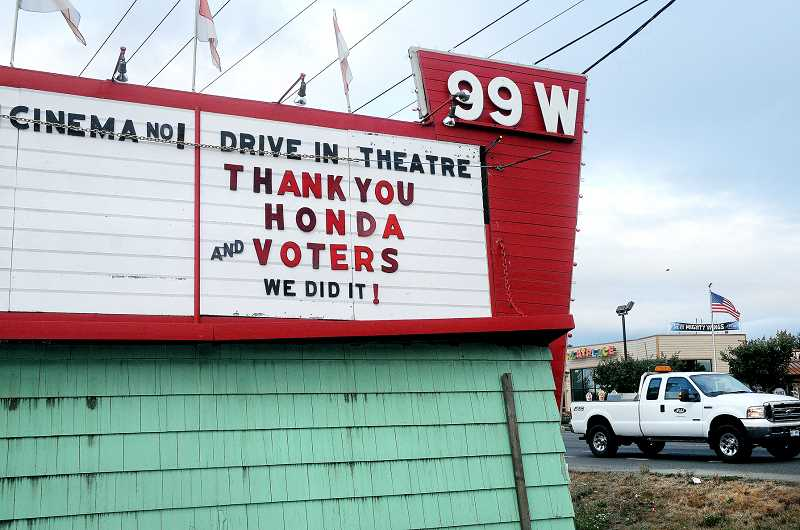 by: GARY ALLEN - A new lease on life - Owners of the 99W Drive-In thanked those people who voted in favor of the business receiving a new digital projector through a contest held by Honda America.