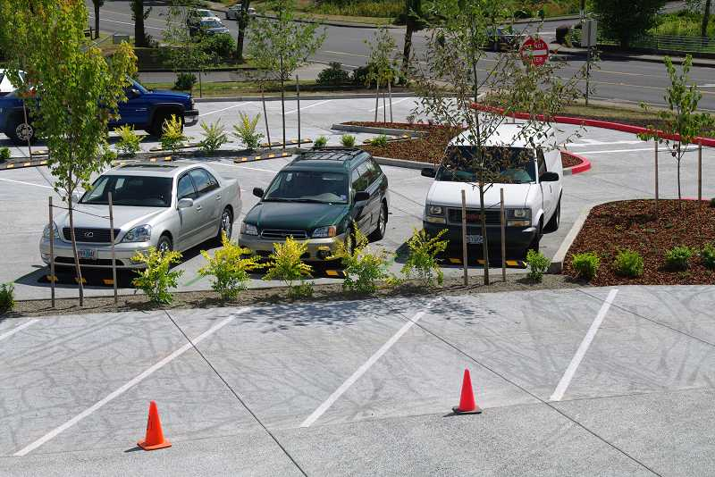 by: SUBMITTED PHOTO - New native plantings in linear tree wells work with vegetation bioswales, above, and newly installed porous concrete pavement to filter and minimize stormwater runoff in the Sunset Swim Center parking lot.