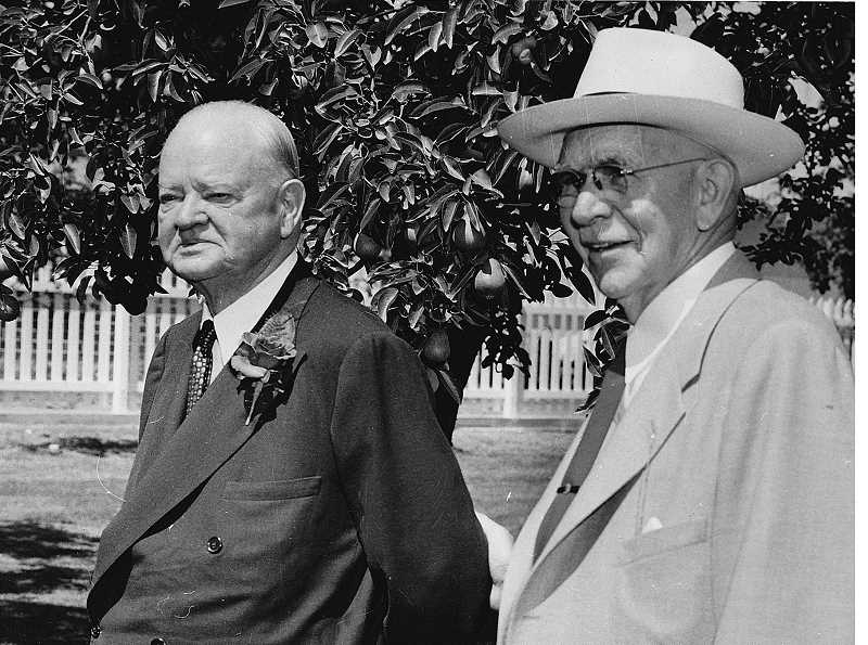 by: SUBMITTED - History's friend - Burn Brown Barker, seen here in 1951 with former President Herbert Hoover during the dedication of the Hoover-Minthorn House Museum, was instrumental in preserving much of the history of northwest Oregon.
