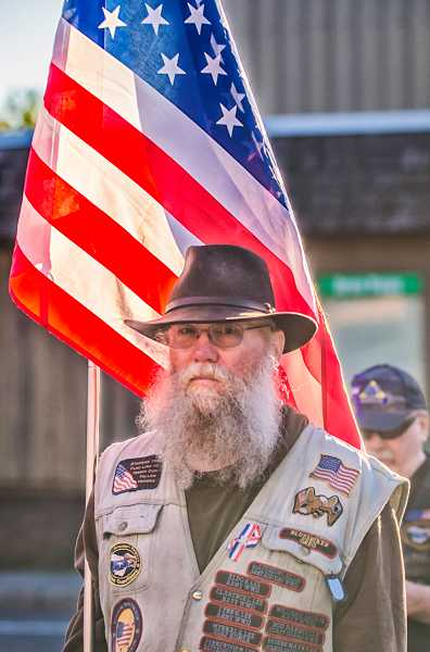 by: RAY HUGHEY - Gregg Keller and other members of the Oregon Patriot Guard motorcycle club served as an honor guard.