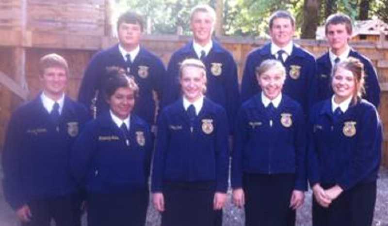 by: SUBMITTED PHOTO - Canby FFA officer team are (back row, from left to right) Wyatt Mead, Chase Unger, Collin Matthias and Trevor Wood. (Front row from left to right) Austin Nichols, Maricruz Arias, Brittany Scott, Rosie Ivanov and Ashley Marks. Attending but not pictured is Alyssa LeMasters.