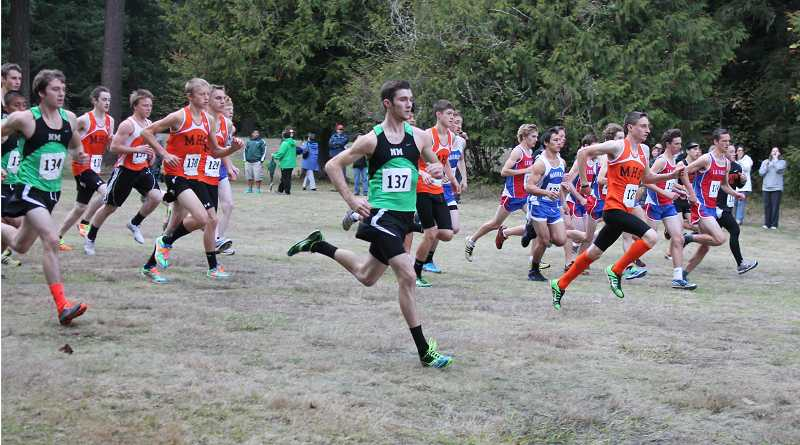 by: COLIN STORM / FILE - Christian Parr (137) clocked a career-best time to lead the North Marion boys cross-country team Sept. 14 at the Ash Creek XC Invitational in Monmouth.