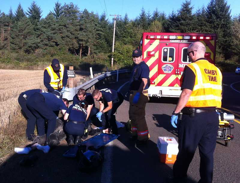 by: CANBY FIRE DISTRICT - Canby paramedics arrived shortly after the accident and transported the victim to a Portland trauma center.