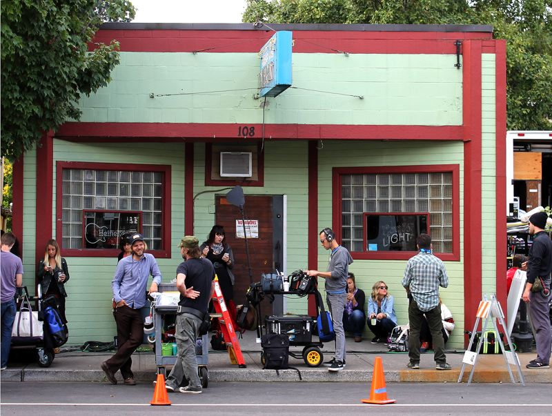 by: OUTLOOK PHOTO: CARI HACHMANN - The 'Portlandia' film crew takes over downtown Troutdale.