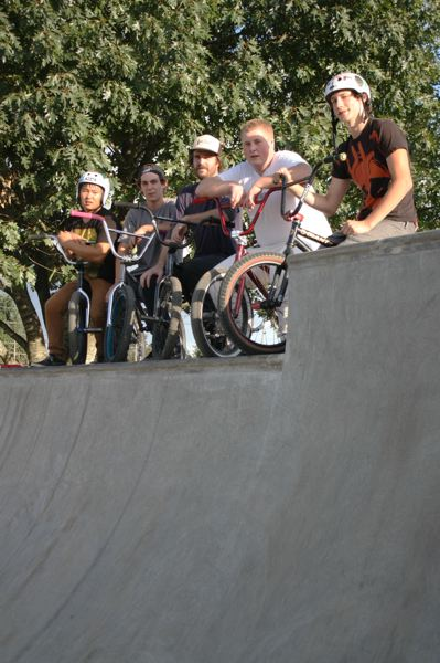 by: SPOTLIGHT PHOTO: ROBIN JOHNSON - Brandon Johnson, a Junior at Scappoose High School, said his friends have been instrumental in helping him work with the city to allow bikes at the skatepark. Pictured left to right: Adam Crafton, Tyler Jackson, Justin Inman, Grey Holmes and Brandon Johnson.
