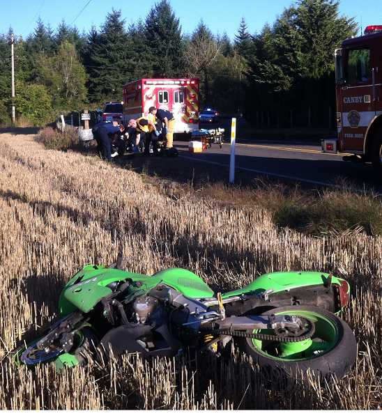 by: SUBMITTED PHOTO - A Molalla motorcyclist was hospitalized  after losing control of his bike on a sharp curve on Mulino Road.