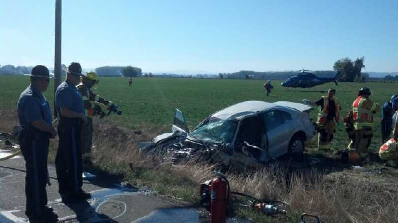 by: OREGON STATE POLICE - One man was seriously injured and a Woodburn woman later cited following a head-on crash Thursday north of Brooks.