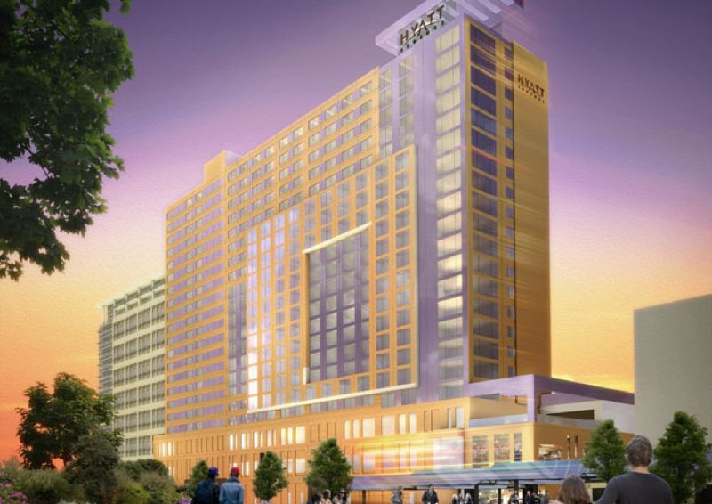 by: MORTESON DEVELOPMENT - Artist's rendering of proposed 600-room Headquarters Hotel.