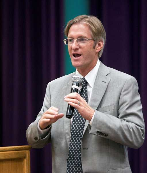 by: WILSONVILLE AREA CHAMBER OF COMMERCE - Oregon State Treasurer Ted Wheeler speaks at the South Metro Leadership Forum.