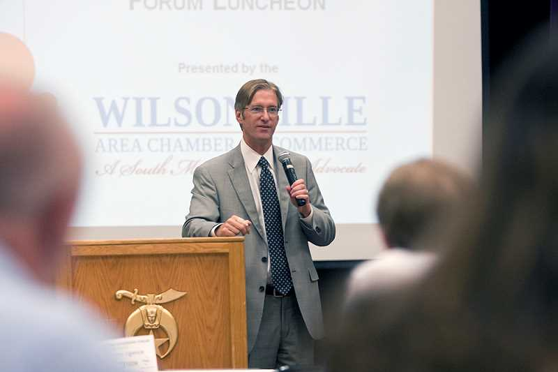 by: WILSONVILLE AREA CHAMBER OF COMMERCE - The economy was the focus of much of Ted Wheeler's comments, focusing on his ideas to help improve Oregons ranking in wages, education and infrastructure status.
