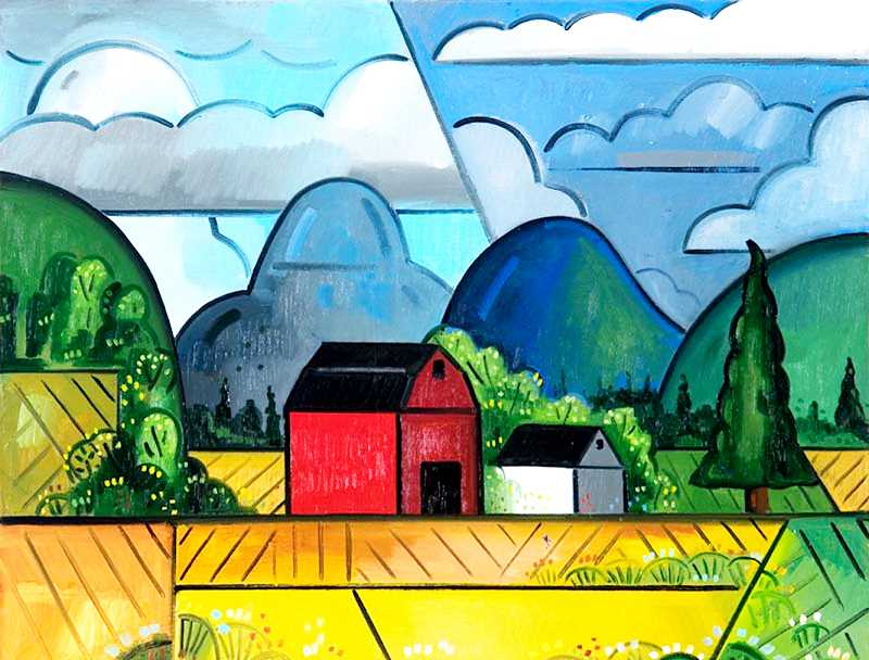 by: SUBMITTED - Bold - Using bold lines and color, Dayton artist Richard Thompson paints what he sees. He will showcase his work starting Thursday at the Art Elements Gallery.