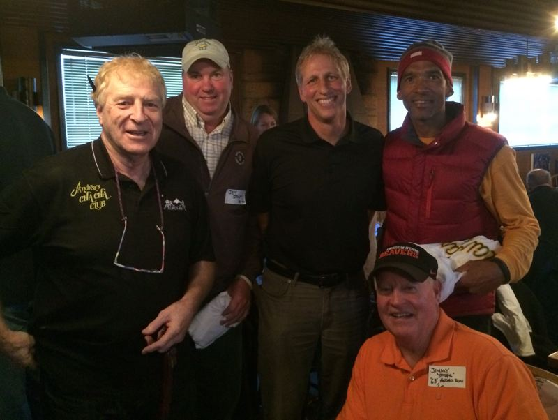 by: COURTESY OF MATT SPATHAS - Jimmy Anderson (front) is joined by (left to right) Frank Peters, Jeff Stoutt, Rick Raivio and Mark Radford at a Claudia's basketball team reunion Wednesday night.