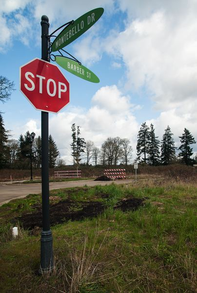 by: SPOKESMAN PHOTO: JOSH KULLA - The extension of Barber Street, shown above where it terminates in Villebois, is on this years list of Wilsonville Urban Renewal projects.