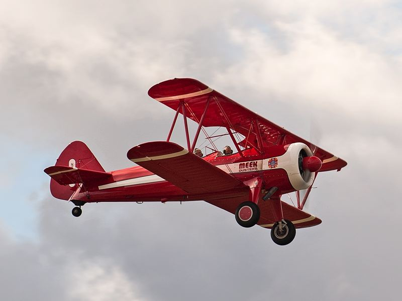 by: SPOKESMAN PHOTO: JOSH KULLA - This Stearman Kaydet biplane is owned by Salems Bill Fisher and flown here by Ageless Aviation volunteer pilot Wayne Cartwright.