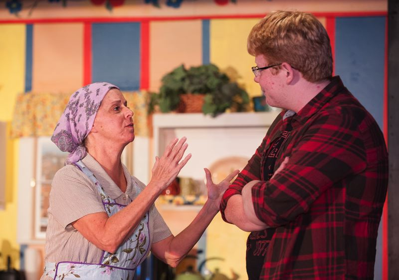 by: SPOKESMAN PHOTO: JOSH KULLA - Patricia Distler, left, plays Clara, the Nowack family matriarch, while Mitchell Lenneville, right, plays her son Jimmy.