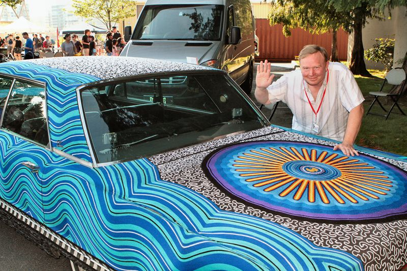 by: DAVID F. ASHTON - It came to me in a dream, says HYPERLINK http://www.yarncar.com/ Yarn Car maker Tim Klein, who turned his 1967 Imperial Crown into a drivable work of art, using more than four miles of soft acrylic yarn, and 2,000 black river rocks!