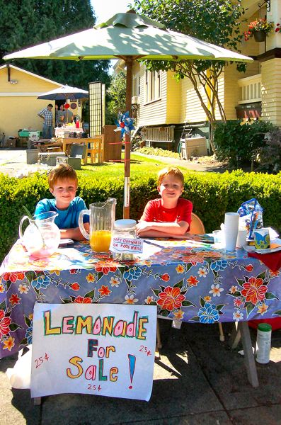 by: RITA A. LEONARD - Sellwood twins Nate and Reed Newton, age nine, sold lemonade over the Labor Day weekend in to benefit the Oregon Food Bank.