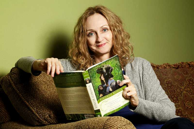 by: TIMES PHOTO: JAIME VALDEZ - Sheri Speede, who spends part of her time in Africa to help protect chimpanzees from imprisonment in the bush meat trade, is back home in Cedar Hills to promote her new book, 'Kindred Beings: What Seventy-Three Chimpanzees Taught Me About Life, Love, and Connection.'