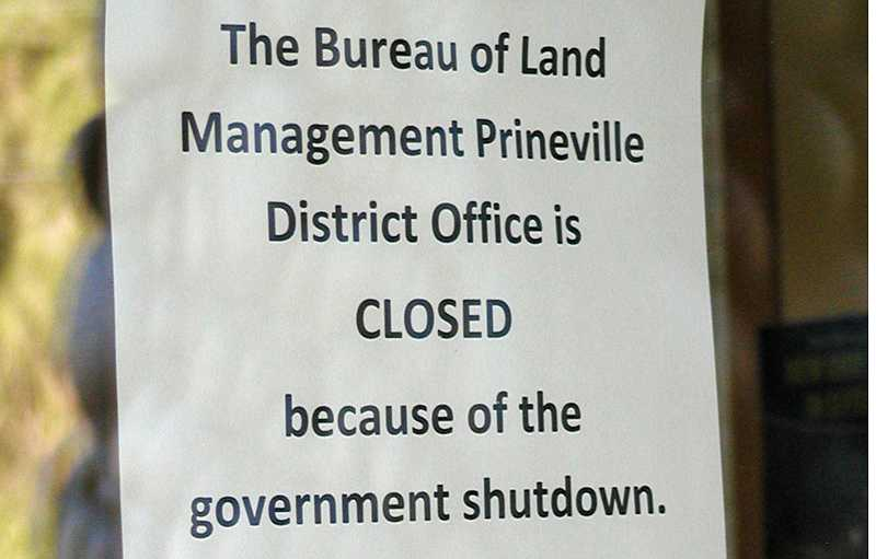 by: RON HALVORSON - The above note was left on the Bureau of Land Management Prineville District Office door following the shutdown.