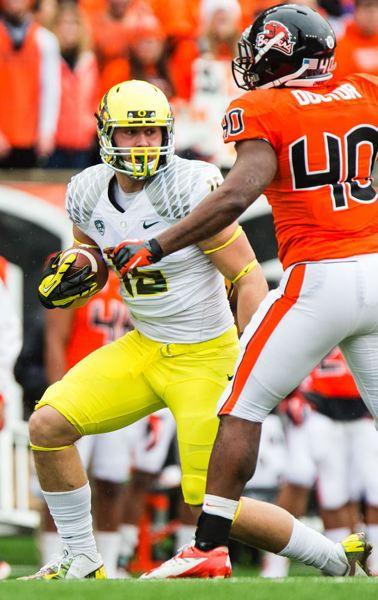 by: TRIBUNE FILE PHOTO: CHRISTOPHER ONSTOTT - Tight end Colt Lyerla has left the Oregon Ducks football program, coach Mark Helfrich said Sunday night.