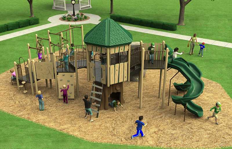by: COURTESY OF CITY OF SHERWOOD - Here's an artist's rendering of what the new playground equipment in Murdock Park will look like. The structure includes a small rock-climbing wall (foreground, left).