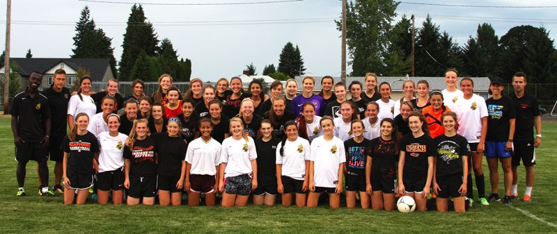 by: FILE PHOTO - St. Helens and Scappoose girls' soccer teams pose after their preseason inter-squad scrimmage in late August. Many of the girls from both teams are part of FC Columbia County.