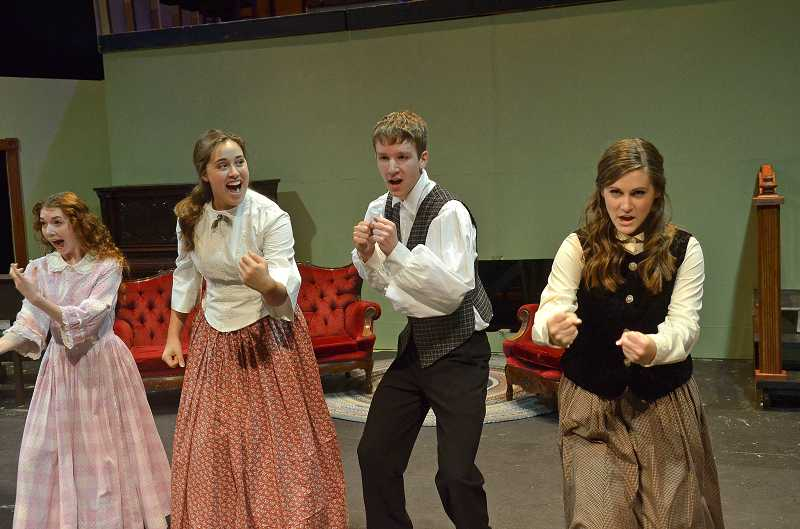 by: PAMPLIN MEDIA GROUP: VERN UYETAKE - From left, Hayley Rousselle, Rachel Hawkins, Aaron Gilbert and Madison Pintar star in Wilsonville High Schools production of 'Little Women: the Musical.'