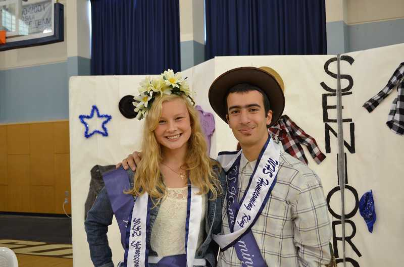 by: SUBMITTED PHOTO: JAKE YOUNG - Husam Zaidan and Christie Halverson are crowned homecoming king and queen in an assembly Oct. 4.