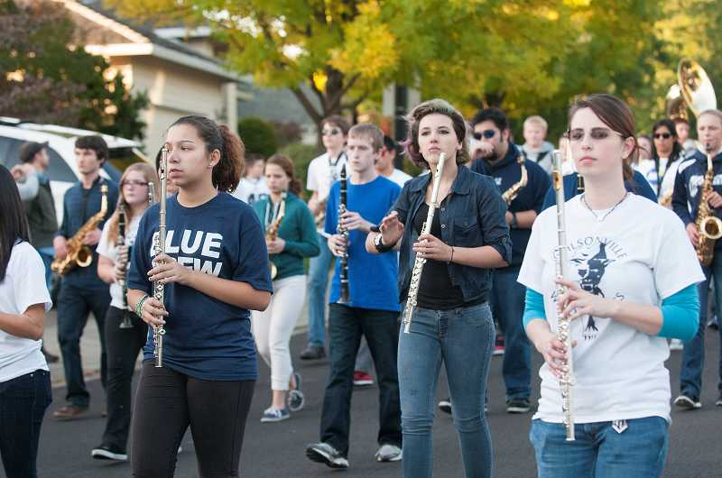 by: SPOKESMAN PHOTO: JOSH KULLA - Wilsonville High School's band provides entertainment during the parade.