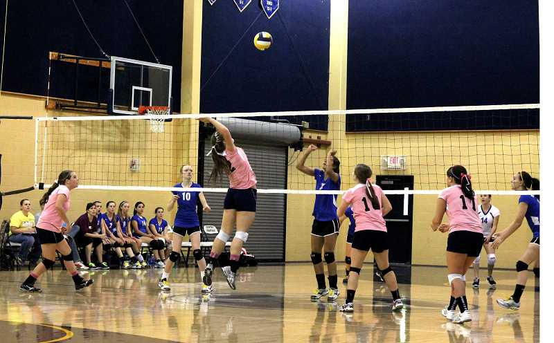 by: CORY MIMMS - Audrey Barden leaps for the spike against Willamette Valley.