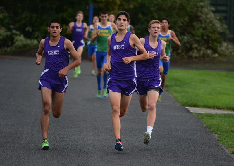 by: TIMES PHOTO: MATT SINGLEDECKER - Sunsets Maneet Kharia, left, Mark Sussman, middle and Grant Bingham, right, helped the Apollos score 29 points at Beavertons four-way meet last Wednesday.