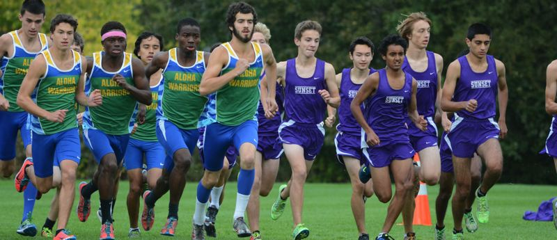 by: TIMES PHOTO: MATT SINGLEDECKER - The Aloha and Sunset boys cross country teams finished first and second, respectively in the opening Metro four-way meet last Wednesday.